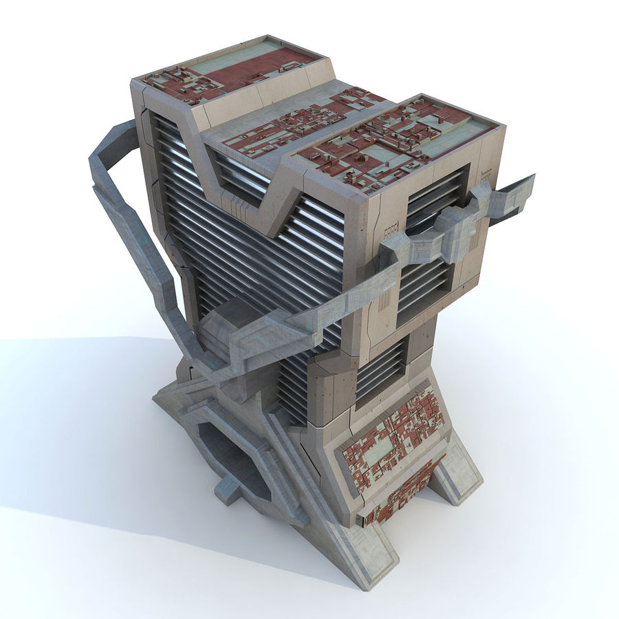 Sci Fi Building L Modern royalty-free 3d model - Preview no. 2
