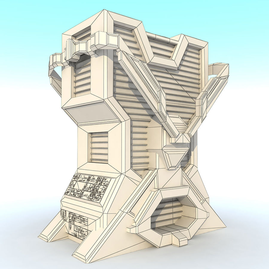 Sci Fi Building L Modern royalty-free 3d model - Preview no. 7