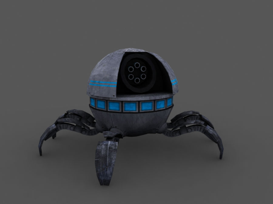 spider robot (low poly) royalty-free 3d model - Preview no. 3