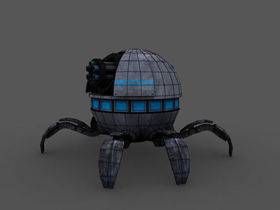spider robot (low poly) royalty-free 3d model - Preview no. 6