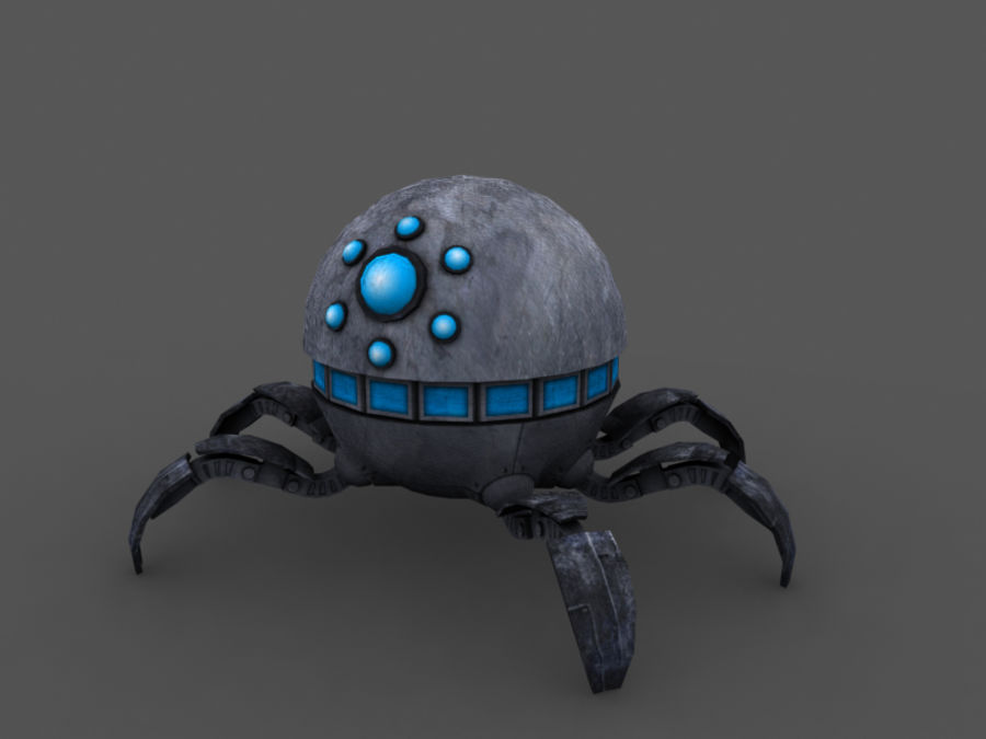 spider robot (low poly) royalty-free 3d model - Preview no. 1