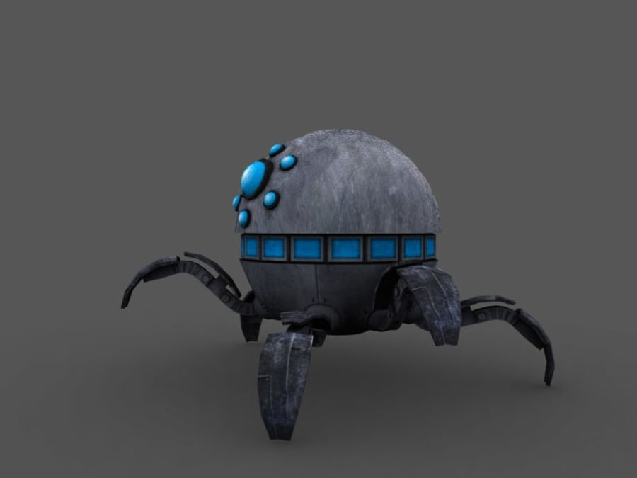 spider robot (low poly) royalty-free 3d model - Preview no. 2