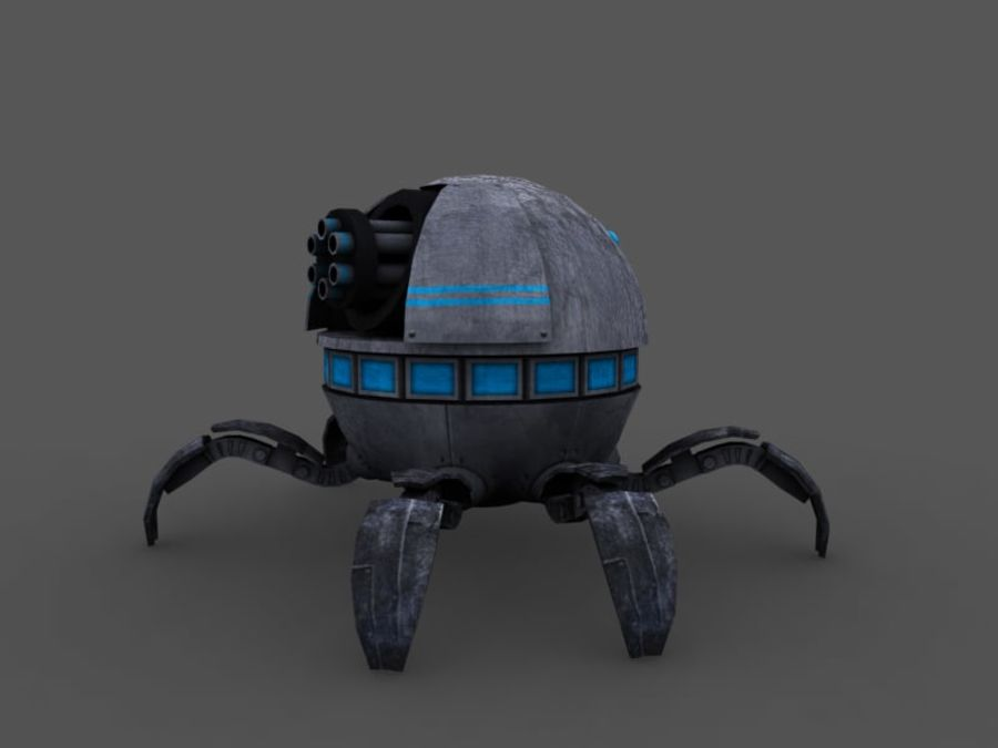 spider robot (low poly) royalty-free 3d model - Preview no. 4
