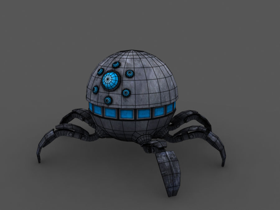 spider robot (low poly) royalty-free 3d model - Preview no. 5