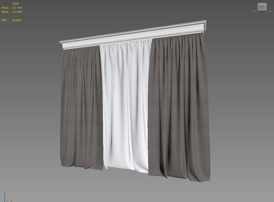 Curtains+tulle(blinds) royalty-free 3d model - Preview no. 5