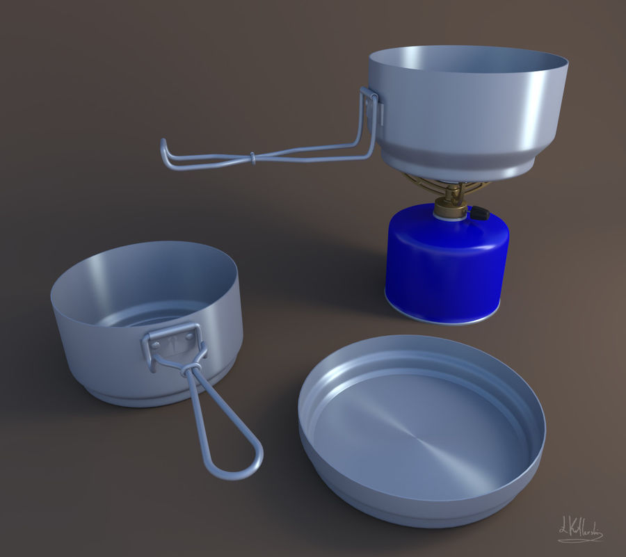Camping utensils royalty-free 3d model - Preview no. 1