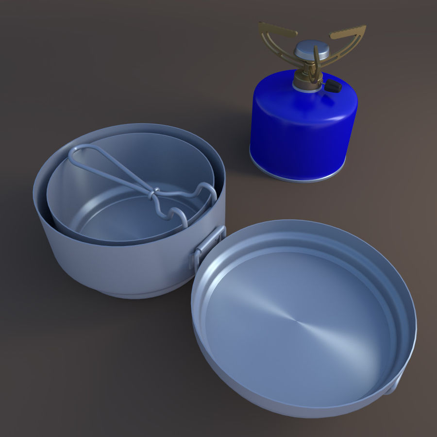 Camping utensils royalty-free 3d model - Preview no. 2