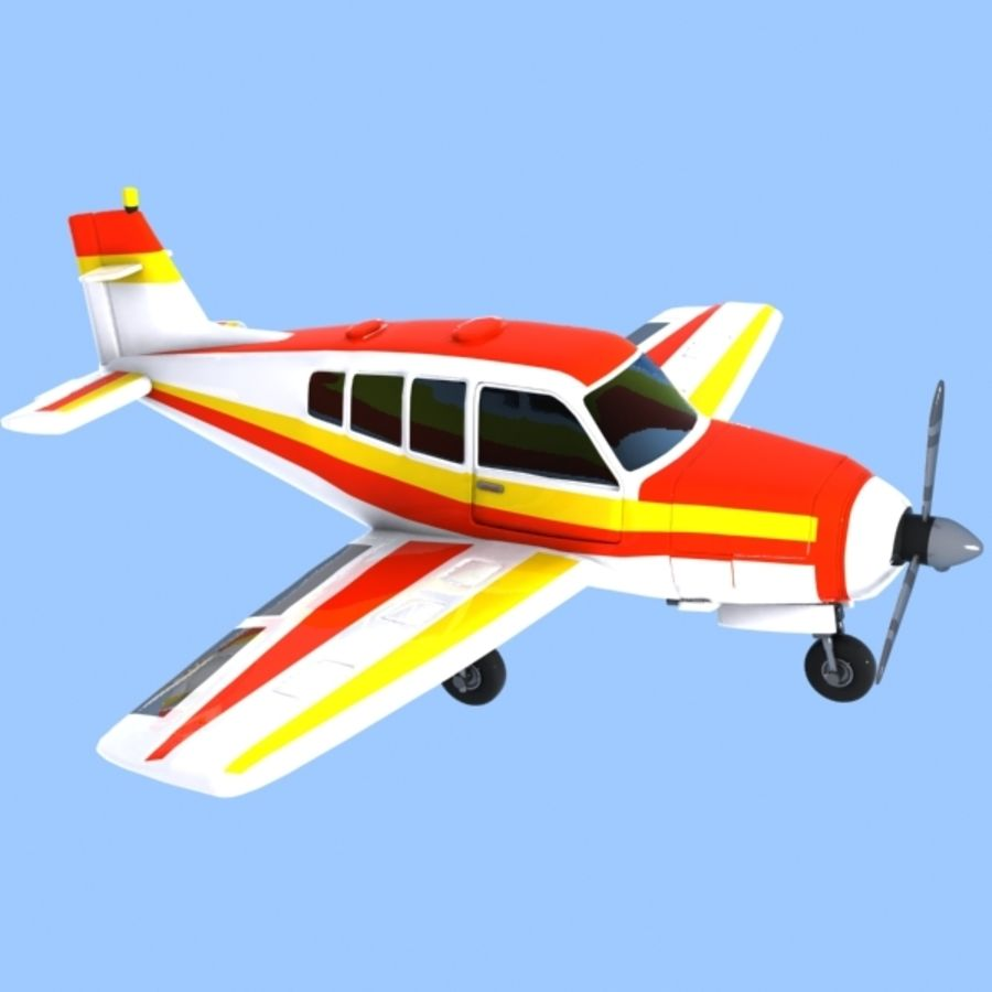 Cartoon Trainer Aircraft 1 royalty-free 3d model - Preview no. 7