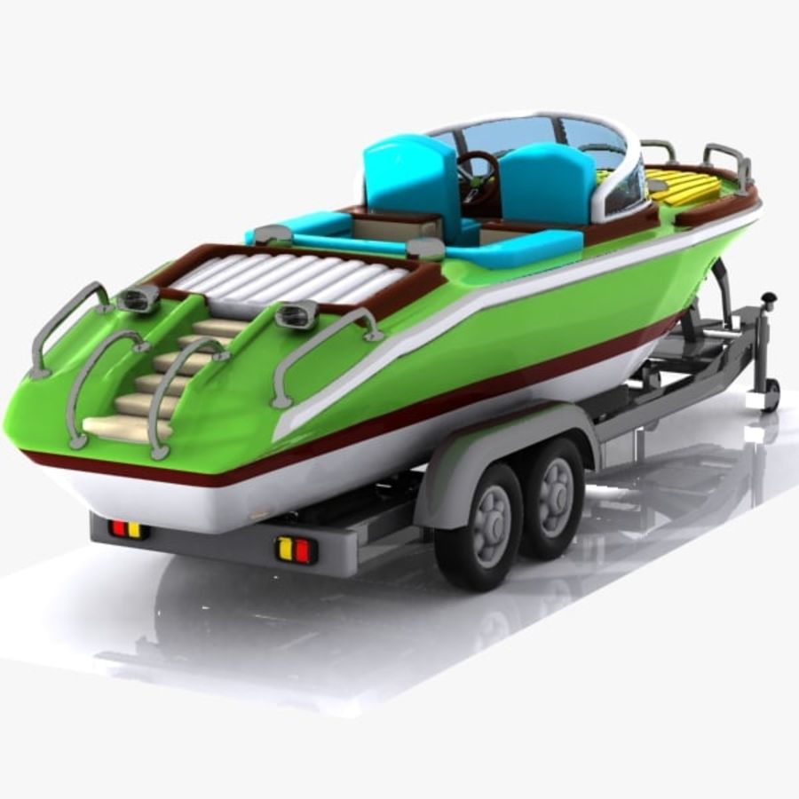 Cartoon Motorboat royalty-free 3d model - Preview no. 8