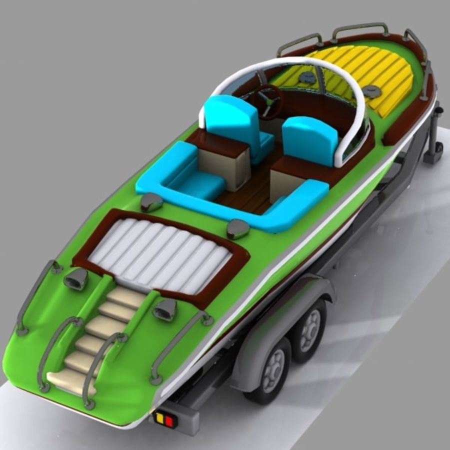 Cartoon Motorboat royalty-free 3d model - Preview no. 2
