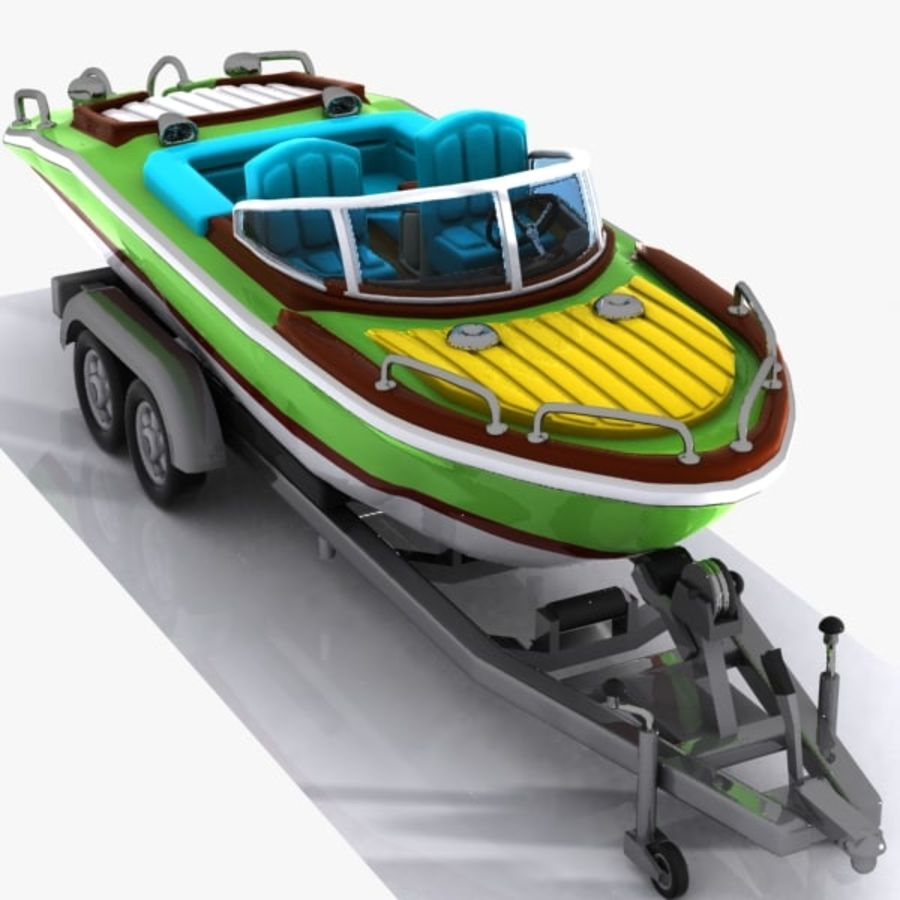 Cartoon Motorboat royalty-free 3d model - Preview no. 4