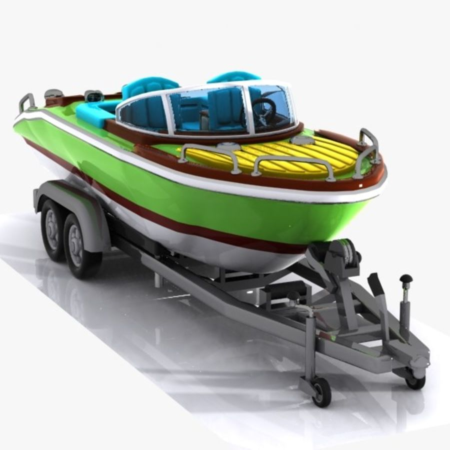 Cartoon Motorboat royalty-free 3d model - Preview no. 5
