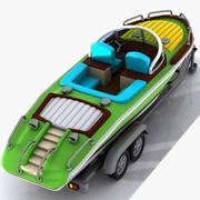 Cartoon Motorboat 3d model