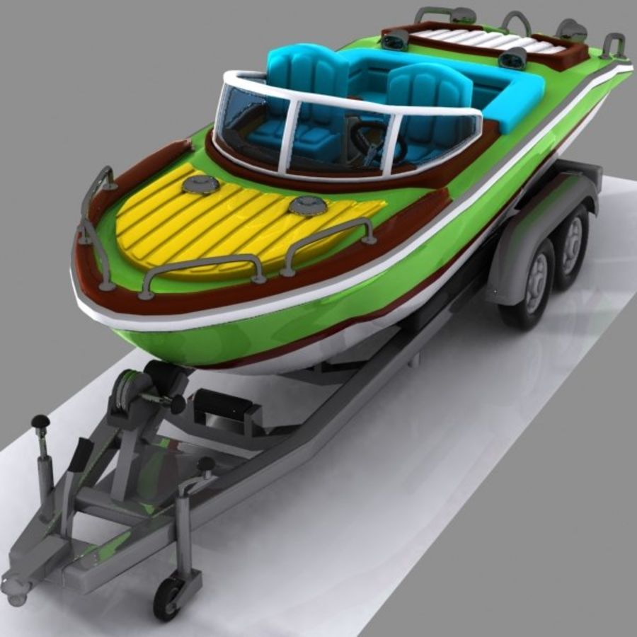 Cartoon Motorboat royalty-free 3d model - Preview no. 6