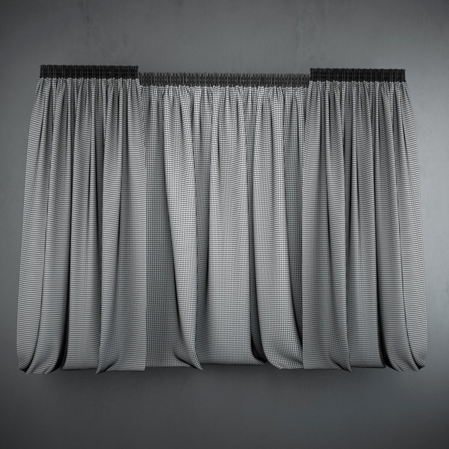 Curtains+tulle(blinds) royalty-free 3d model - Preview no. 2