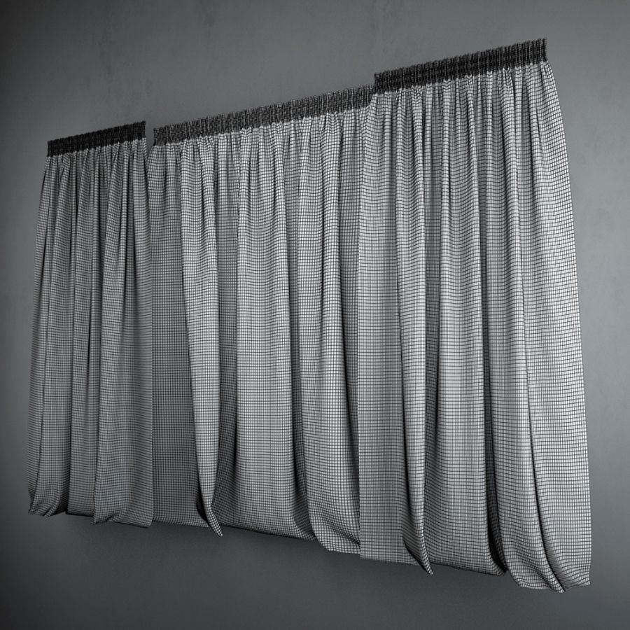 Curtains+tulle(blinds) royalty-free 3d model - Preview no. 3