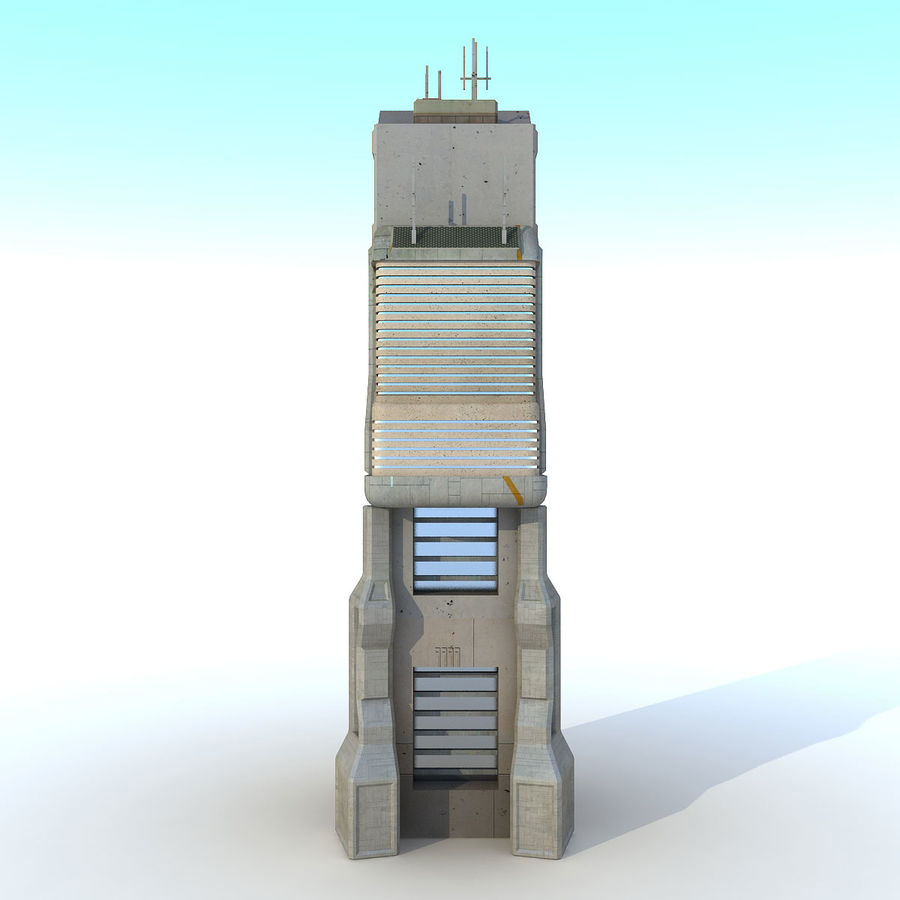 Sci Fi Building O Skyscraper royalty-free 3d model - Preview no. 6