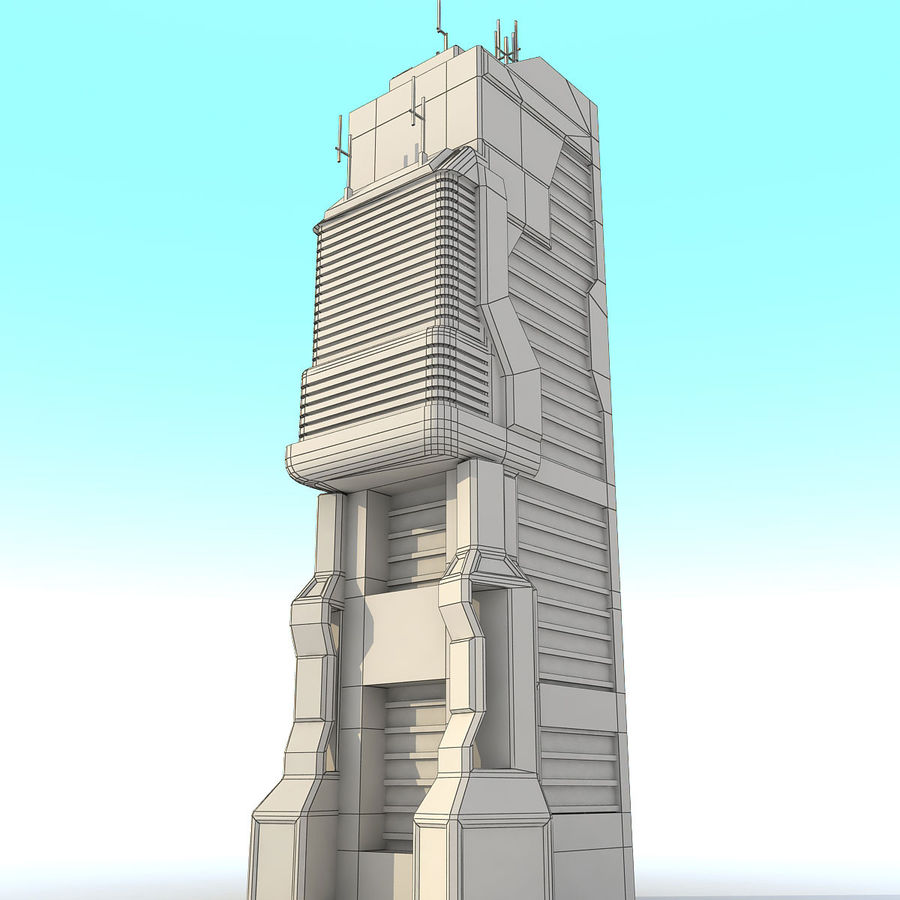 Sci Fi Building O Skyscraper royalty-free 3d model - Preview no. 9