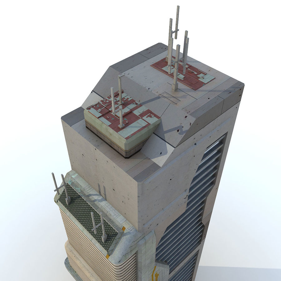 Sci Fi Building O Skyscraper royalty-free 3d model - Preview no. 7