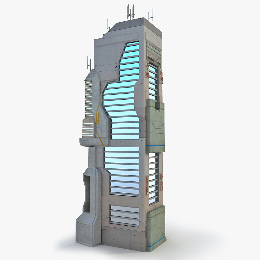 Sci Fi Building O Skyscraper royalty-free 3d model - Preview no. 1