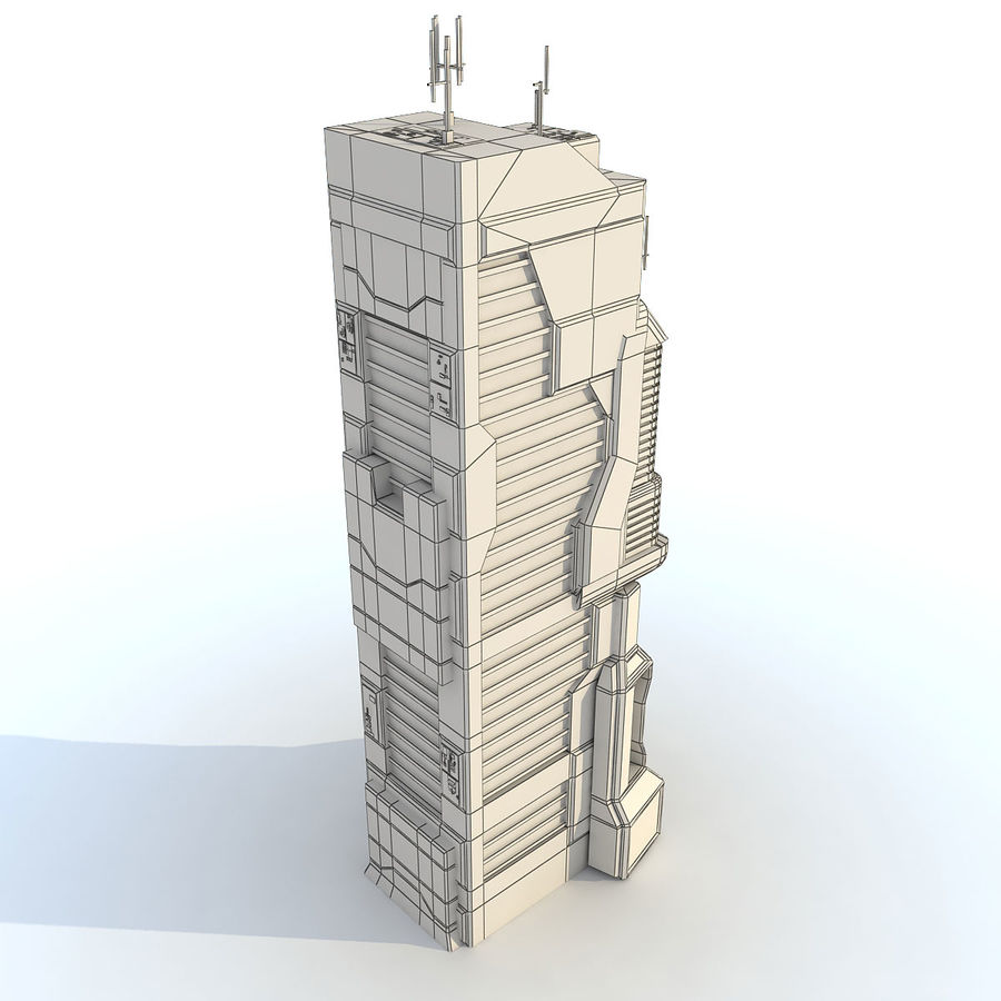 Sci Fi Building O Skyscraper royalty-free 3d model - Preview no. 8