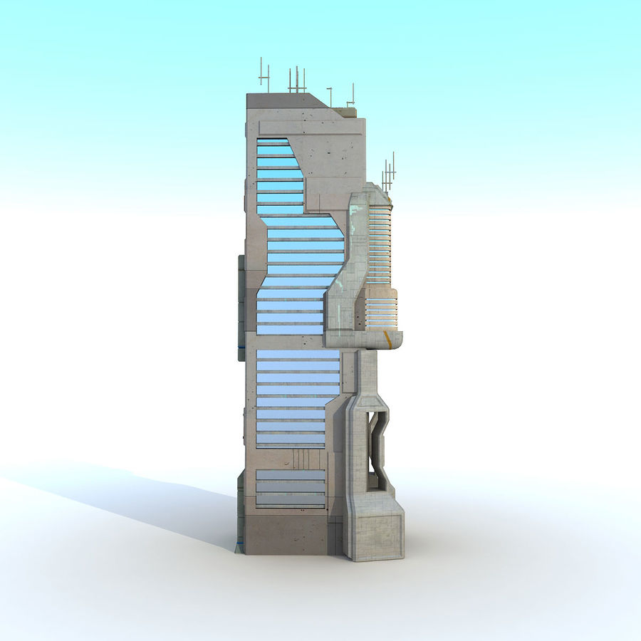 Sci Fi Building O Skyscraper royalty-free 3d model - Preview no. 5