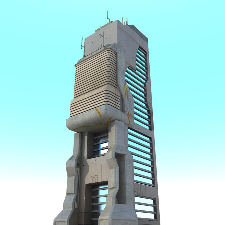 Sci Fi Building O Skyscraper royalty-free 3d model - Preview no. 4