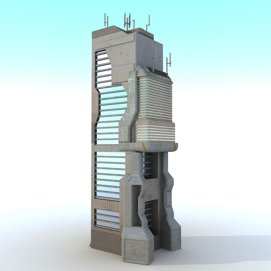 Sci Fi Building O Skyscraper royalty-free 3d model - Preview no. 2