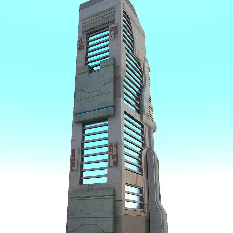 Sci Fi Building O Skyscraper royalty-free 3d model - Preview no. 3