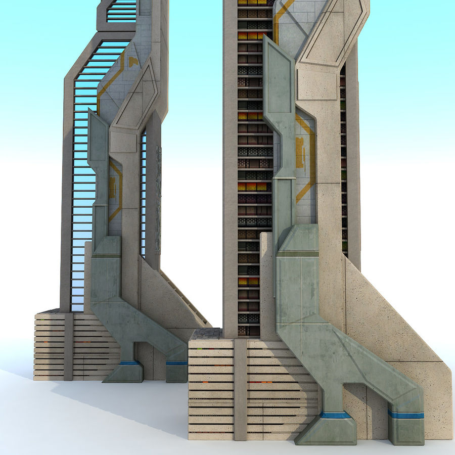 Sci Fi Futuristic Building H royalty-free 3d model - Preview no. 5
