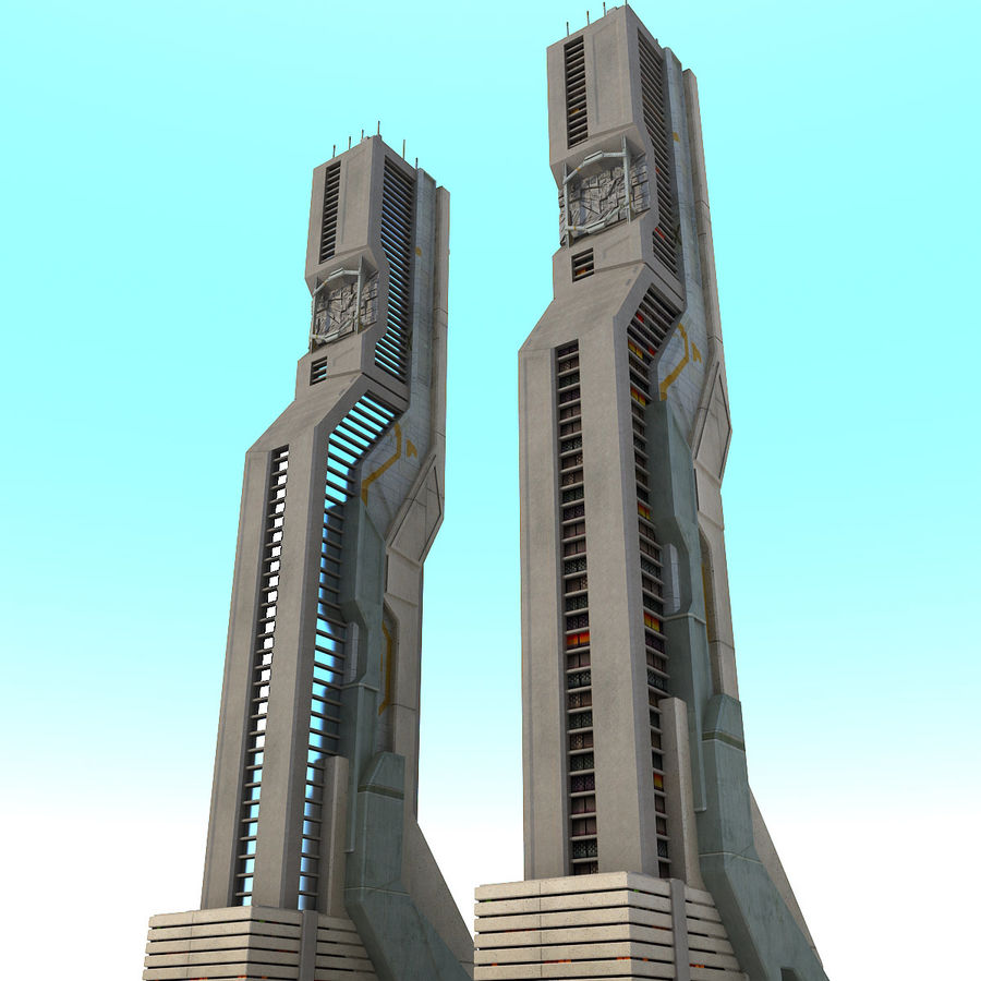 Sci Fi Futuristic Building H royalty-free 3d model - Preview no. 3