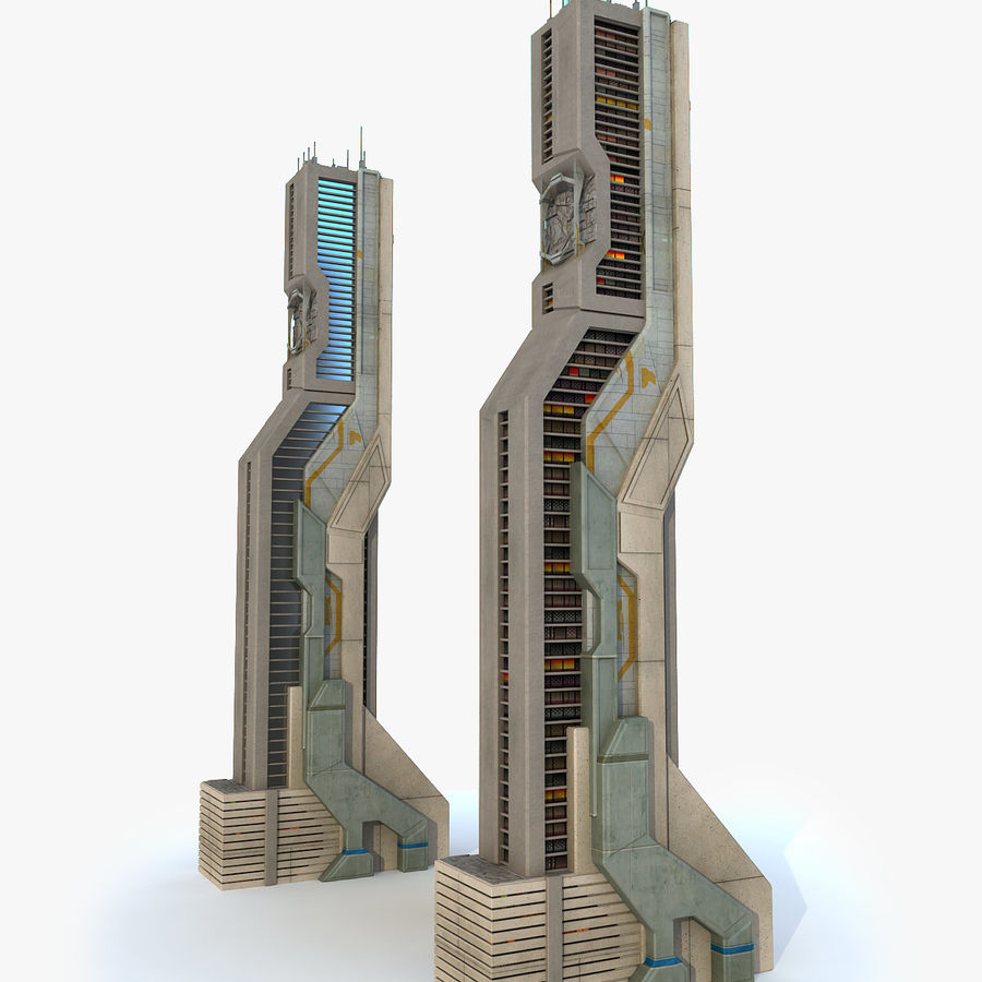 Sci Fi Futuristic Building H royalty-free 3d model - Preview no. 1