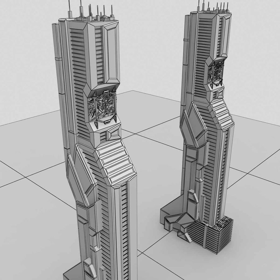Sci Fi Futuristic Building H royalty-free 3d model - Preview no. 7