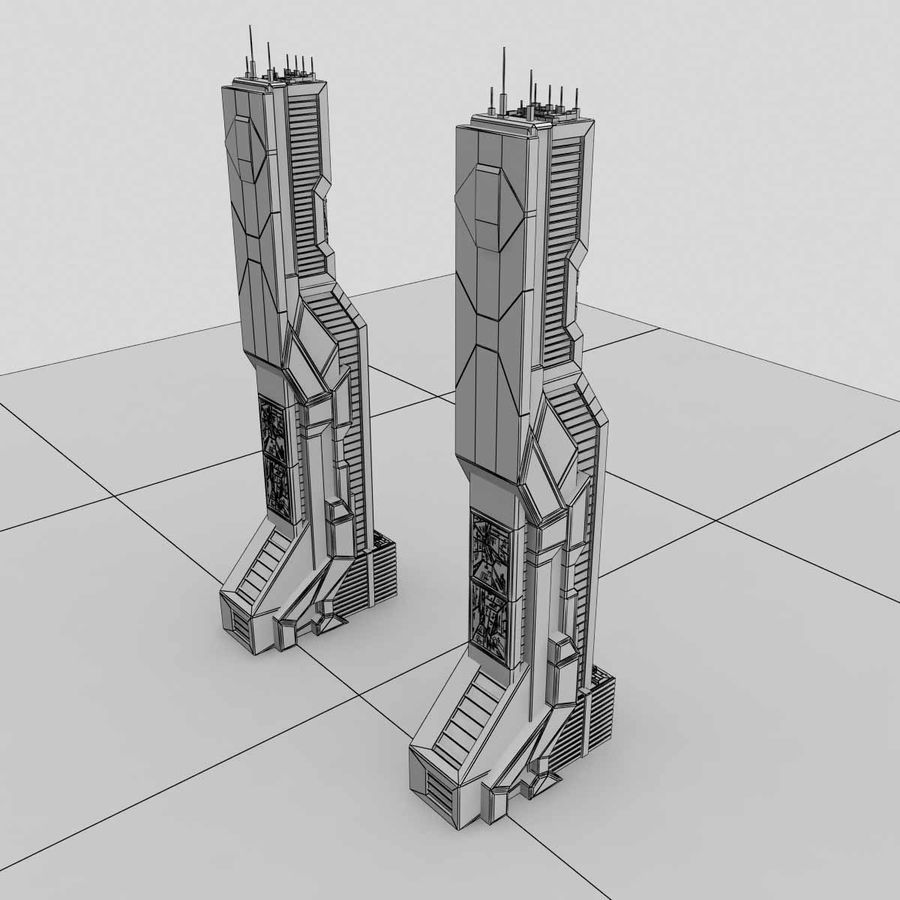 Sci Fi Futuristic Building H royalty-free 3d model - Preview no. 8