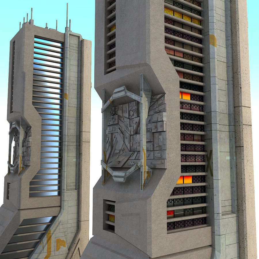 Sci Fi Futuristic Building H royalty-free 3d model - Preview no. 6