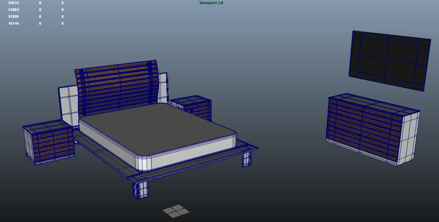 Full bedroom furnitures royalty-free 3d model - Preview no. 4
