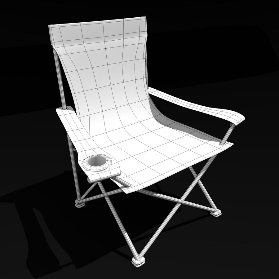 Campingstol royalty-free 3d model - Preview no. 4
