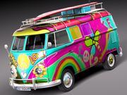 Volkswagen Camper Van 1950 Hippy 3d model