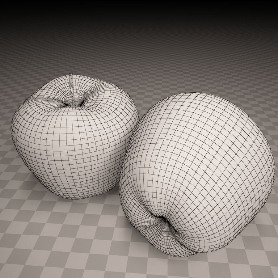 Red apple royalty-free 3d model - Preview no. 2