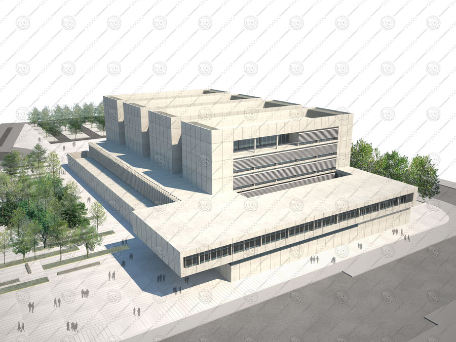 Hospital Building royalty-free 3d model - Preview no. 1