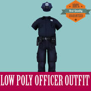 Officer Outfit Low Poly for Games 3d model