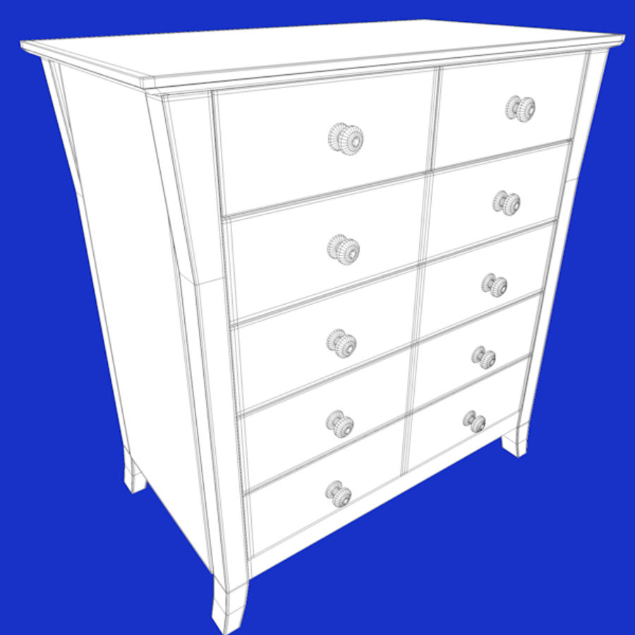Vermont six drawer royalty-free 3d model - Preview no. 7