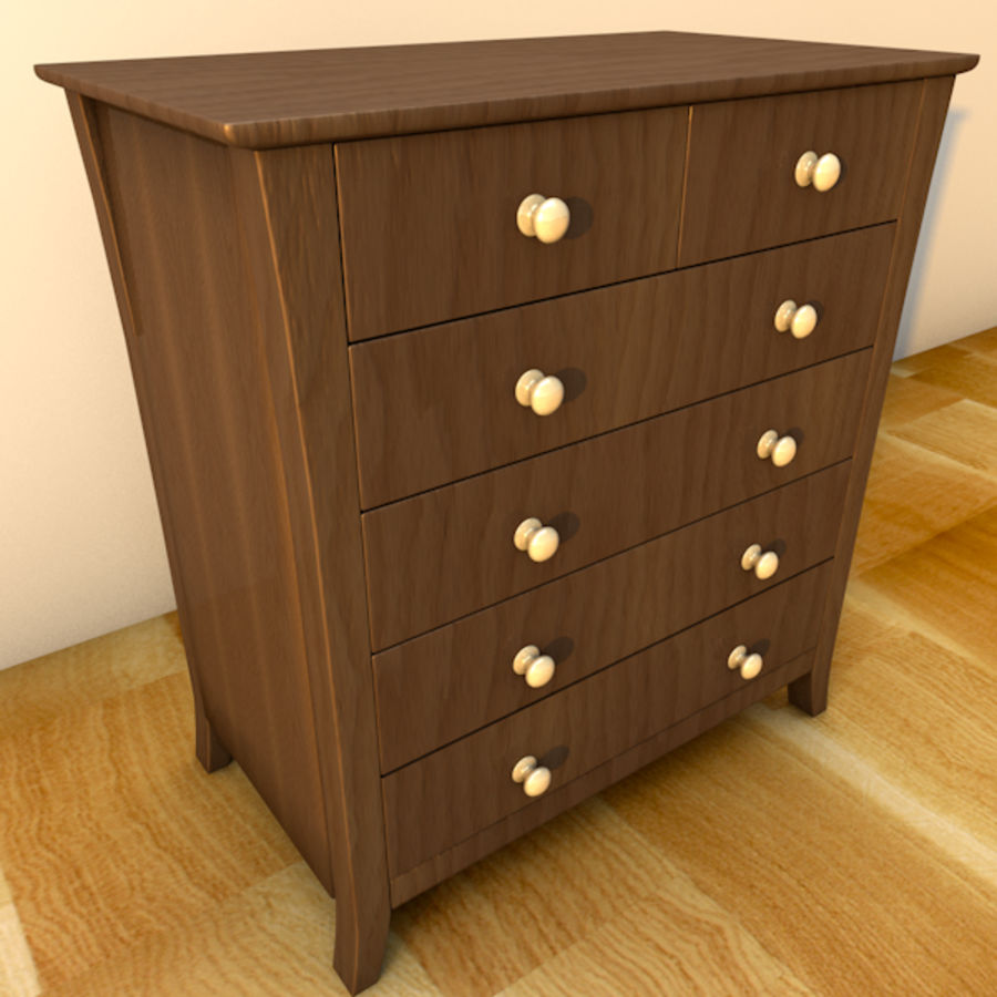 Vermont six drawer royalty-free 3d model - Preview no. 2