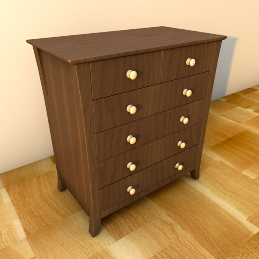 Vermont six drawer royalty-free 3d model - Preview no. 3