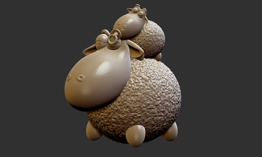 Sheep family royalty-free 3d model - Preview no. 4