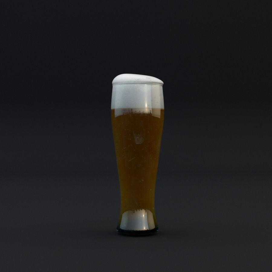 Beer glass royalty-free 3d model - Preview no. 8