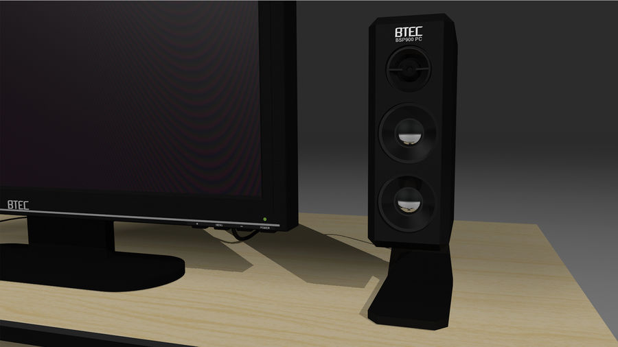 Computer Setup with Desk and Chair royalty-free 3d model - Preview no. 23
