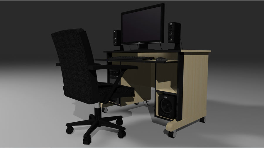 Computer Setup with Desk and Chair royalty-free 3d model - Preview no. 12