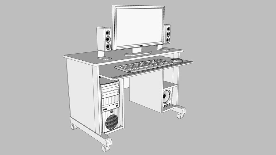 Computer Setup with Desk and Chair royalty-free 3d model - Preview no. 27
