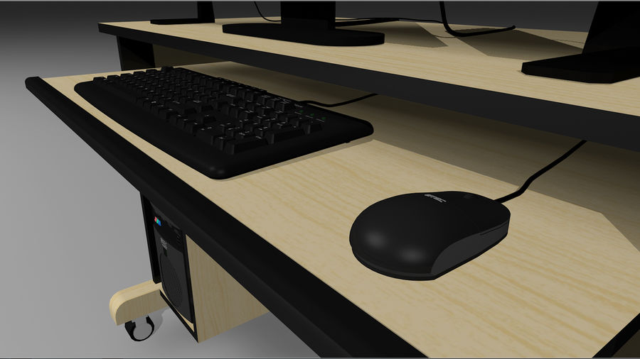 Computer Setup with Desk and Chair royalty-free 3d model - Preview no. 8